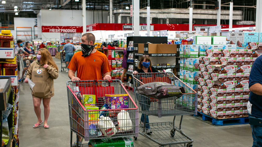 Costco shoppers wearing masks