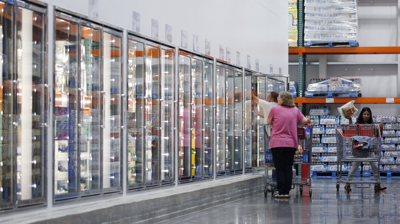 The frozen food aisle at a Costco big box store