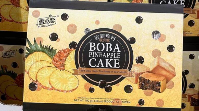 Box of Costco Boba Pineapple Cake