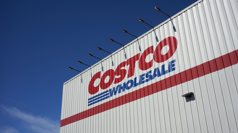 Exterior of Costco store with blue sky background