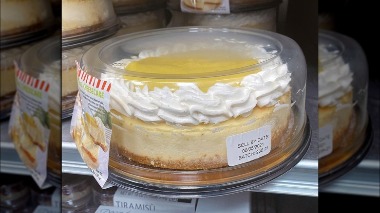 A hand holding a key lime cheesecake