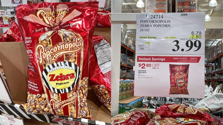 Red bag of Popcornopoolis zebra popcorn at Costco