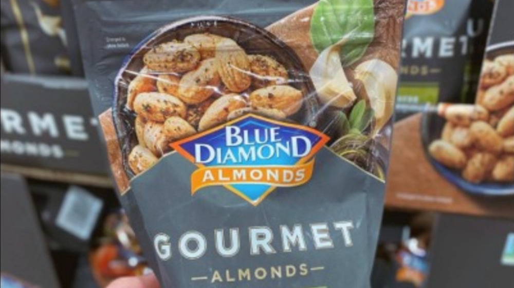 Bag of Costco gourmet garlic almonds