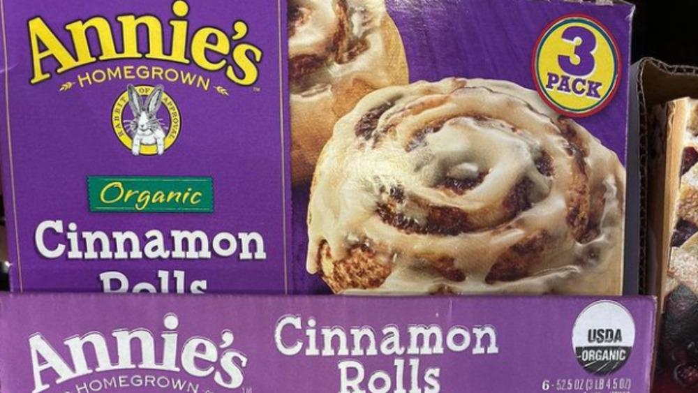 Costco box of Annie's organic cinnamon rolls