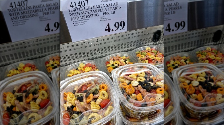 Plastic boxes of Costco's tortellini salad