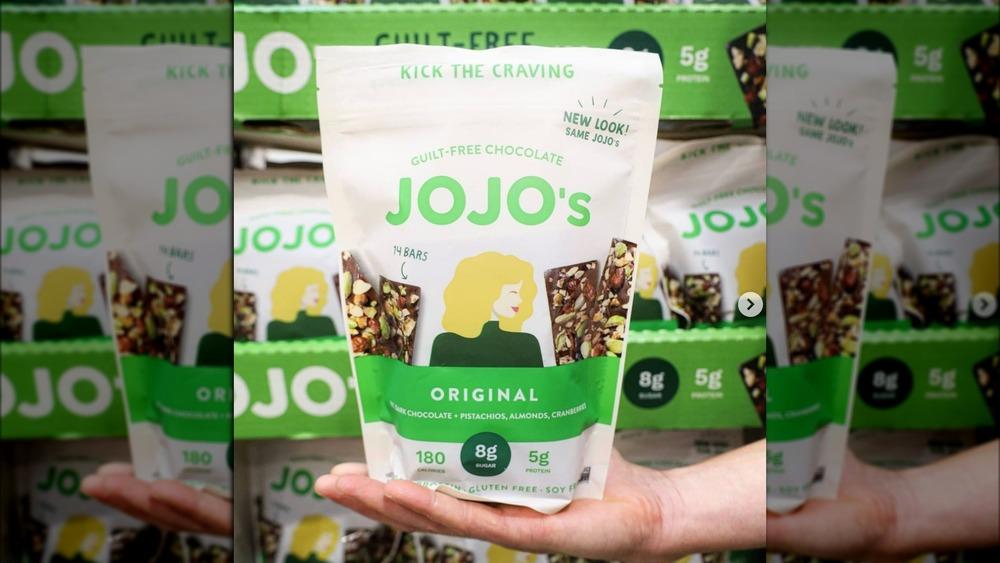 Bag of JoJo's original low-sugar chocolate bars