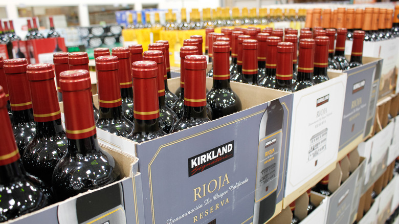 A variety of wines for sale at Costco