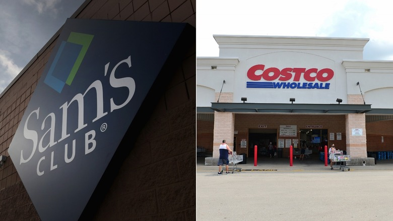 Sam's Club and Costco signs