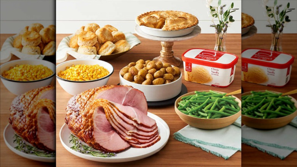 Costco's full Schwan's Spiral Ham Dinner