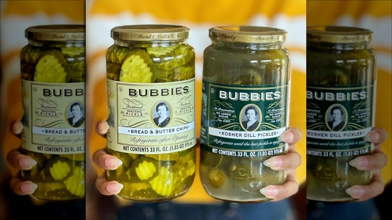 Two jars of Bubbies pickles