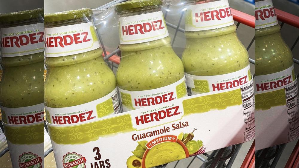 Three jars of Herdez guacamole salsa