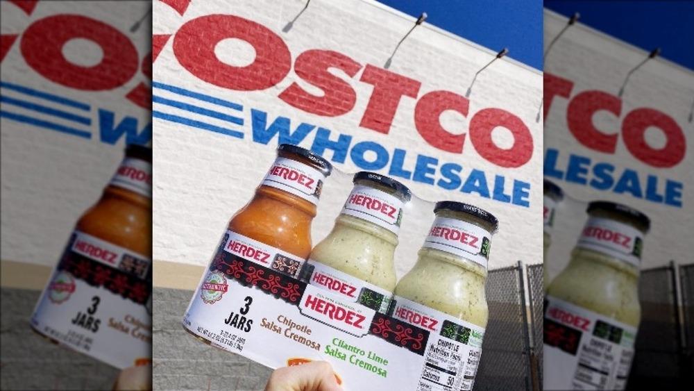 Hand holding new Costco salsa cremosa