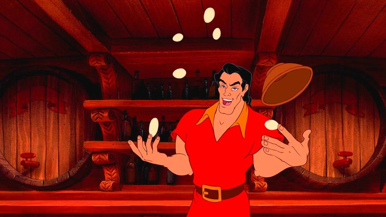Gaston juggling eggs in Beauty and the Beast