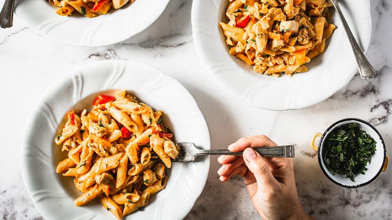 plates of cajun chicken pasta