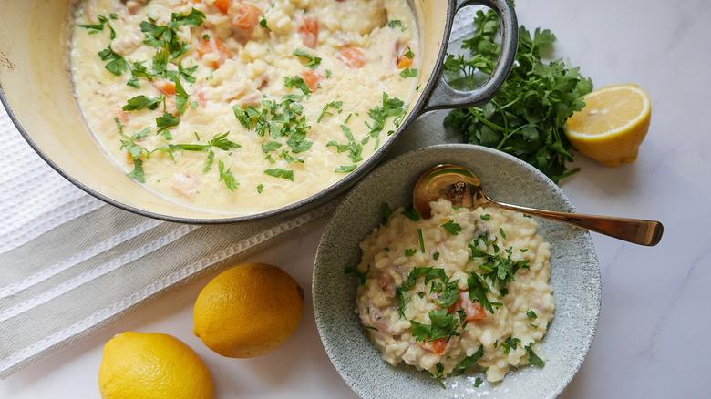 serving of lemon rice soup