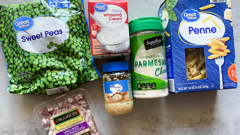 ingredients for Pasta With Pancetta and Peas
