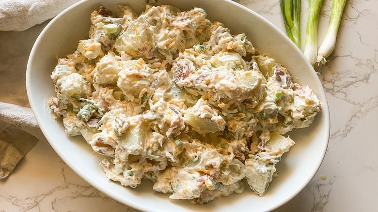 ranch potato salad in bowl