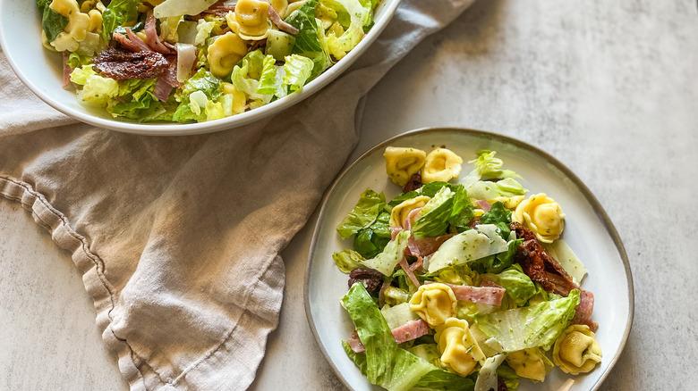 serving of tortellini pasta salad