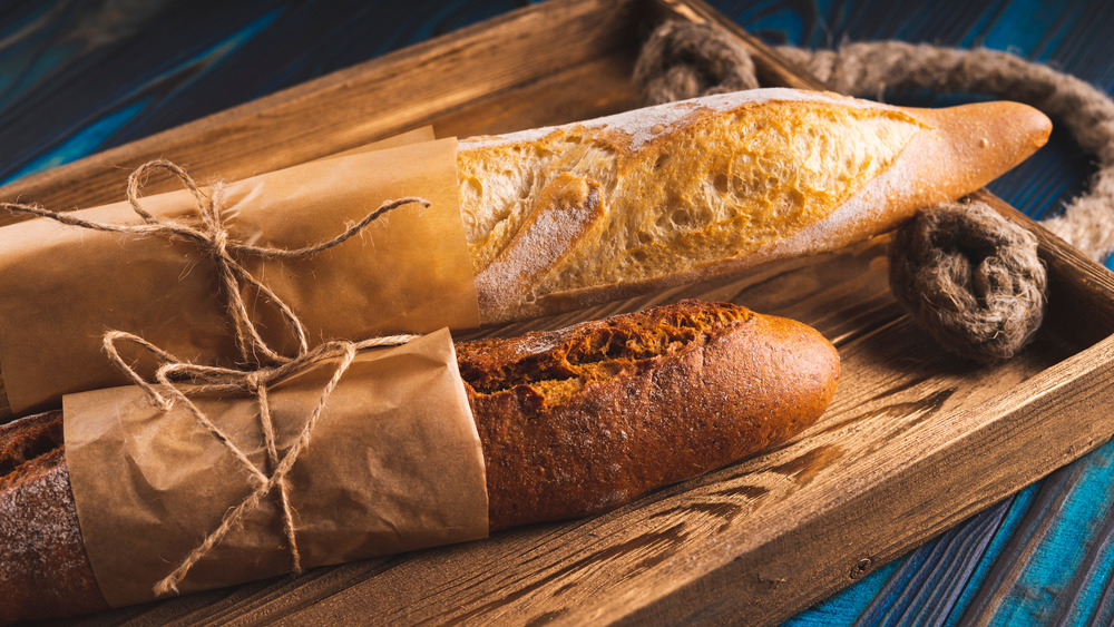 Baguettes on a blue tray