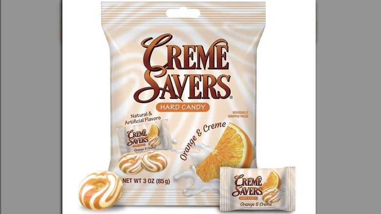 Orange Creme Savers wrapped and unwrapped