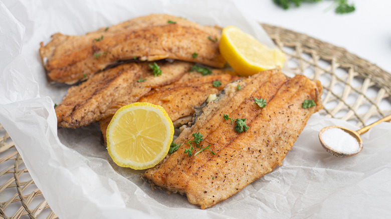 fried trout with lemon