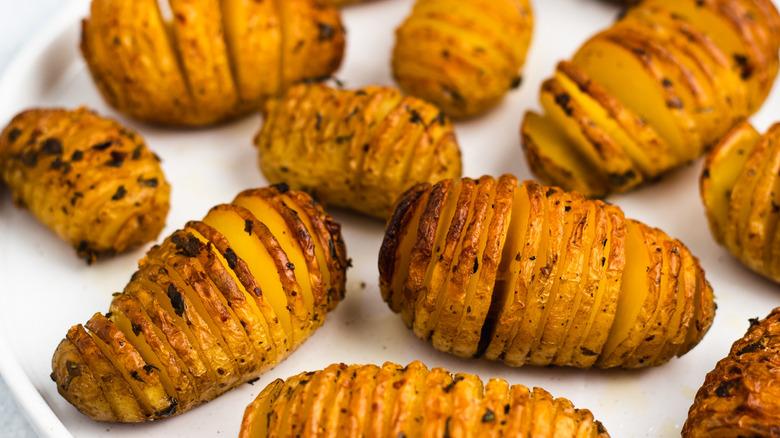 hasselback potatoes on plate