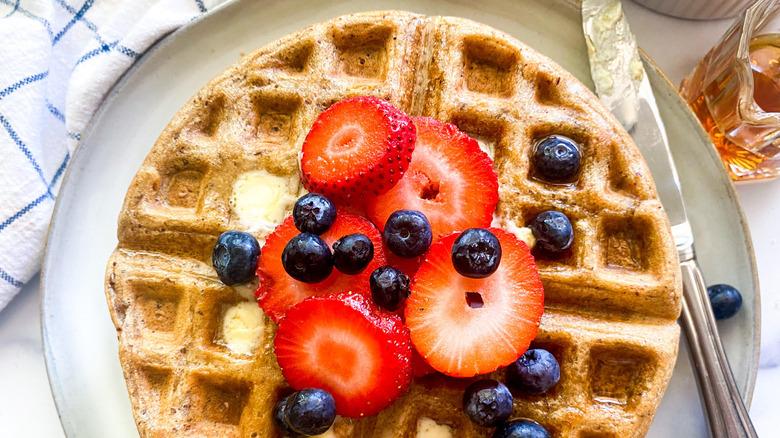 crispy waffle on plate