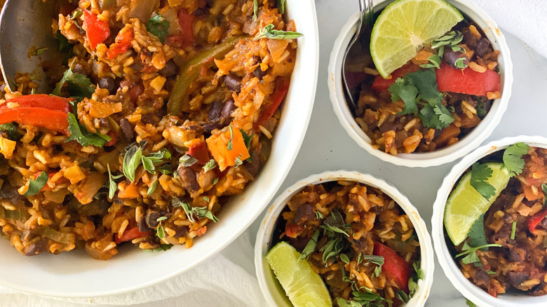 Cuban Black Beans and Rice served in a bowl