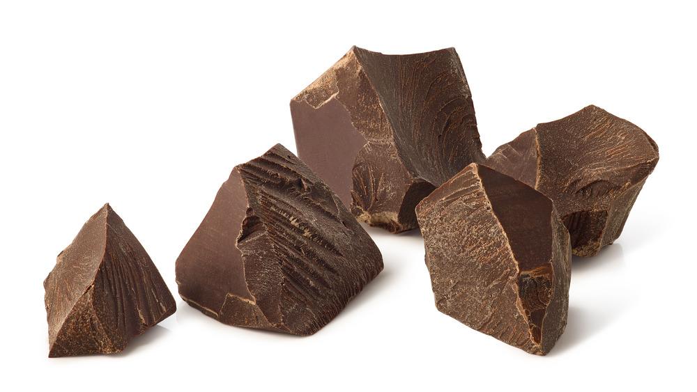 Broken pieces of dark chocolate