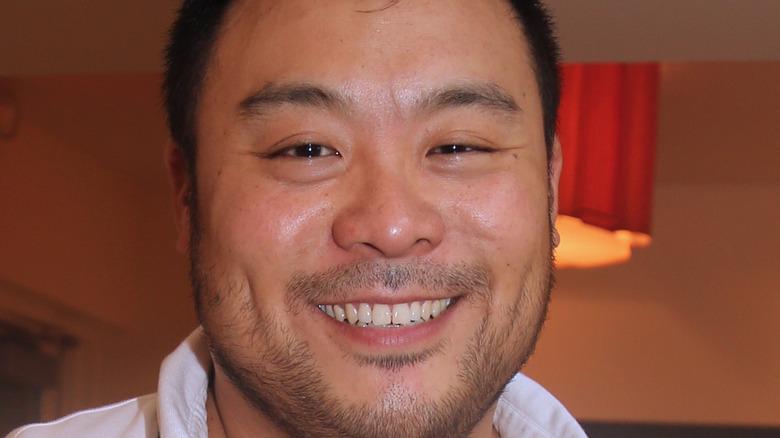 Closeup of chef David Chang smiling