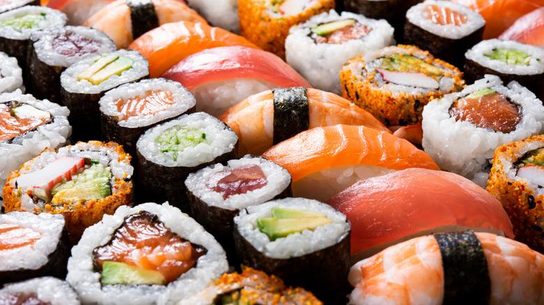 An assortment of sushi rolls