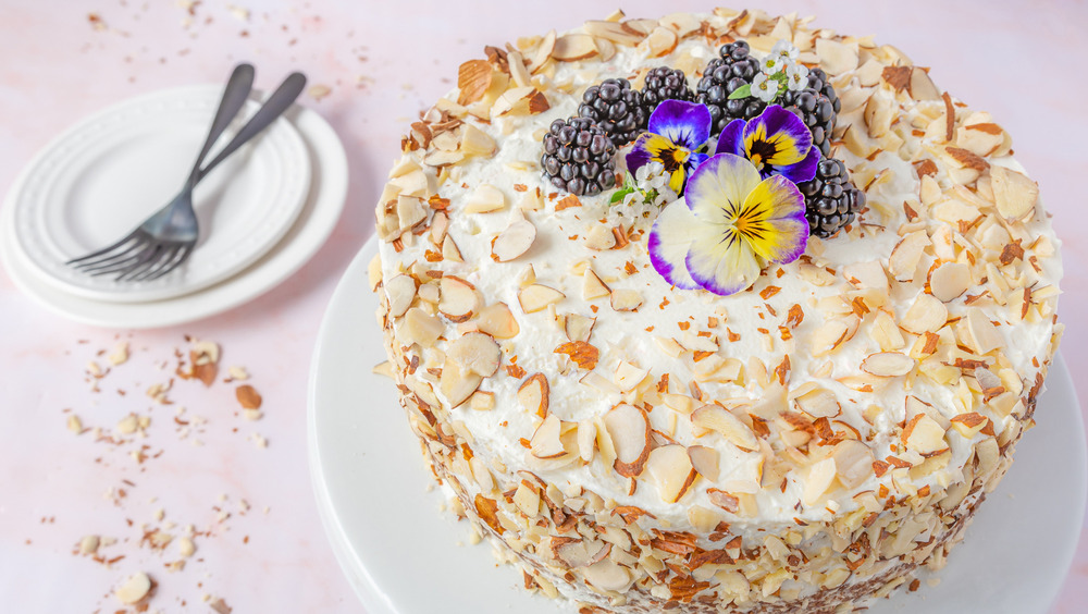 almond cake decorated with almonds
