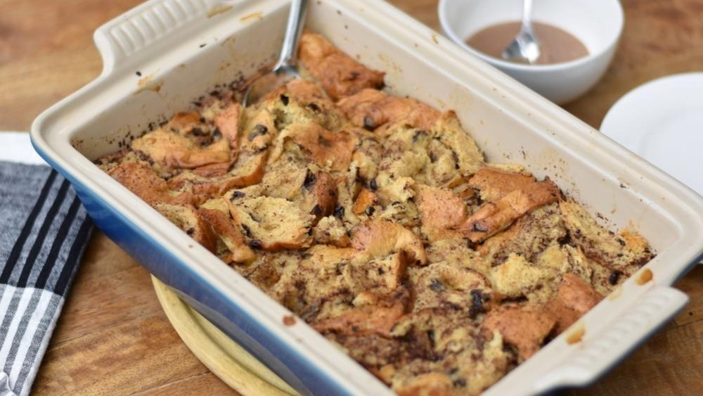Aldi five ingredient bread pudding in casserole dish