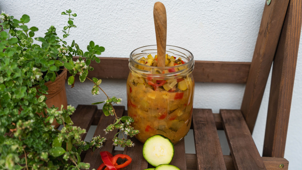 Zucchini relish by a plant