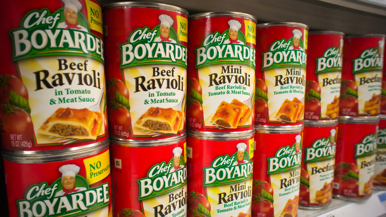 Stacks of Chef Boyardee cans
