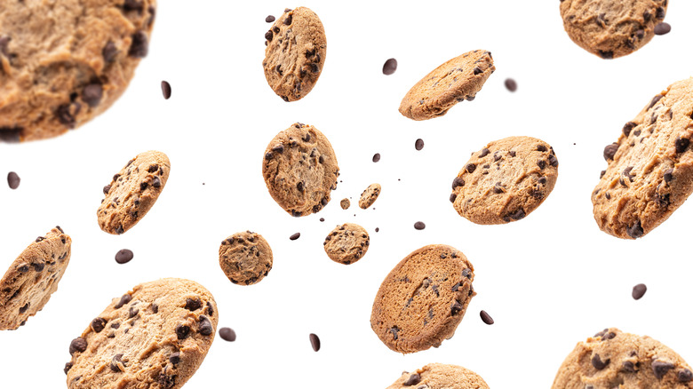 Falling chocolate chip cookies