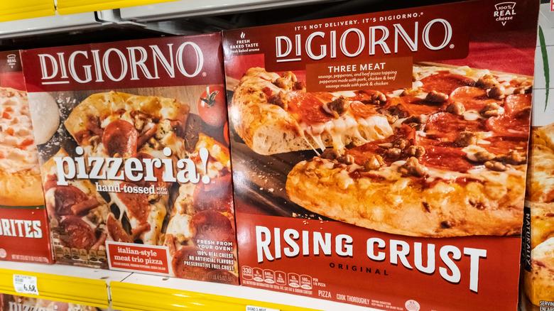 DiGiorno frozen pizza on shelves