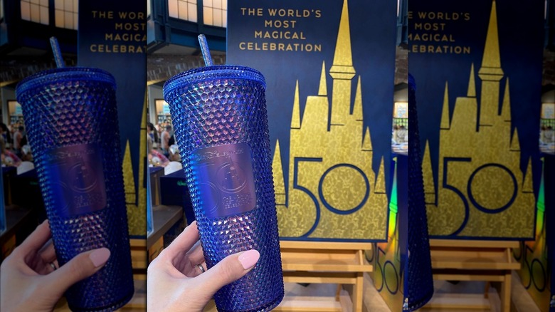 Blue sparkly 50th anniversary cup from Disney and Starbucks