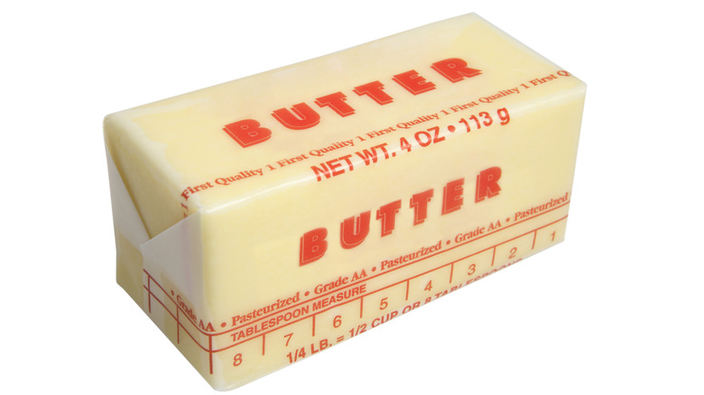 Stick of butter wrapped in white wrapper