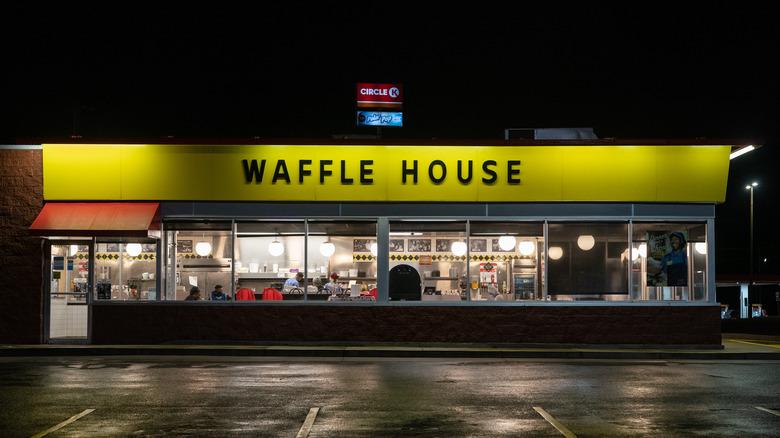 Waffle House restaurant at night