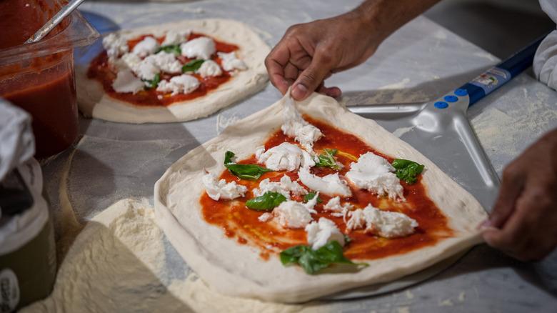 pizza on a pizza peel