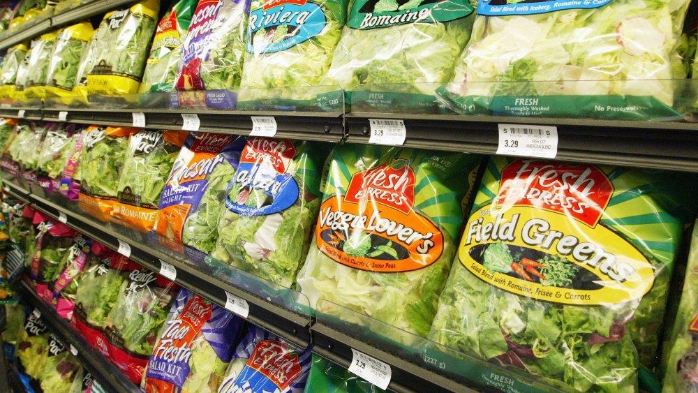 Bagged salad at the supermarket