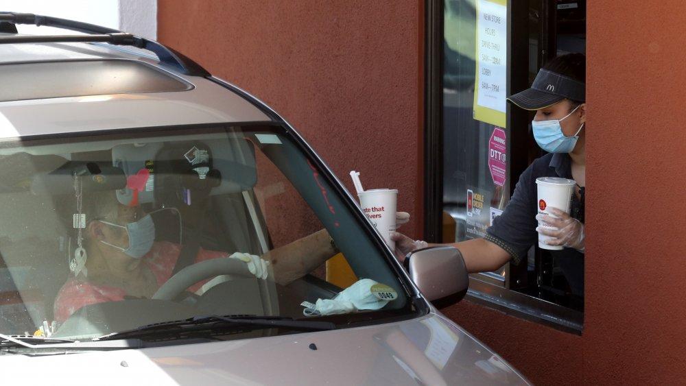 mcdonald's drive-thru with face masks