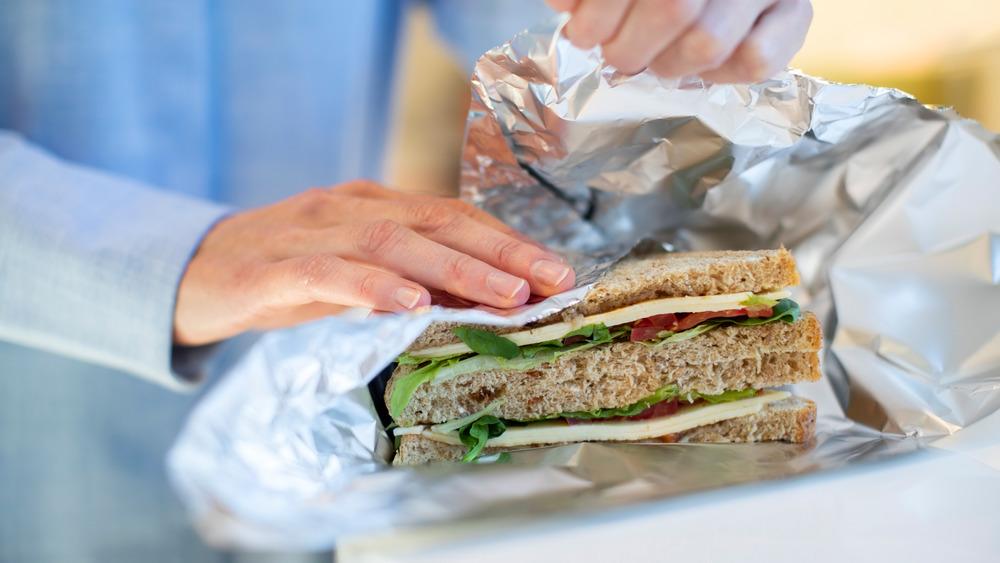 aluminum foil around a sandwich