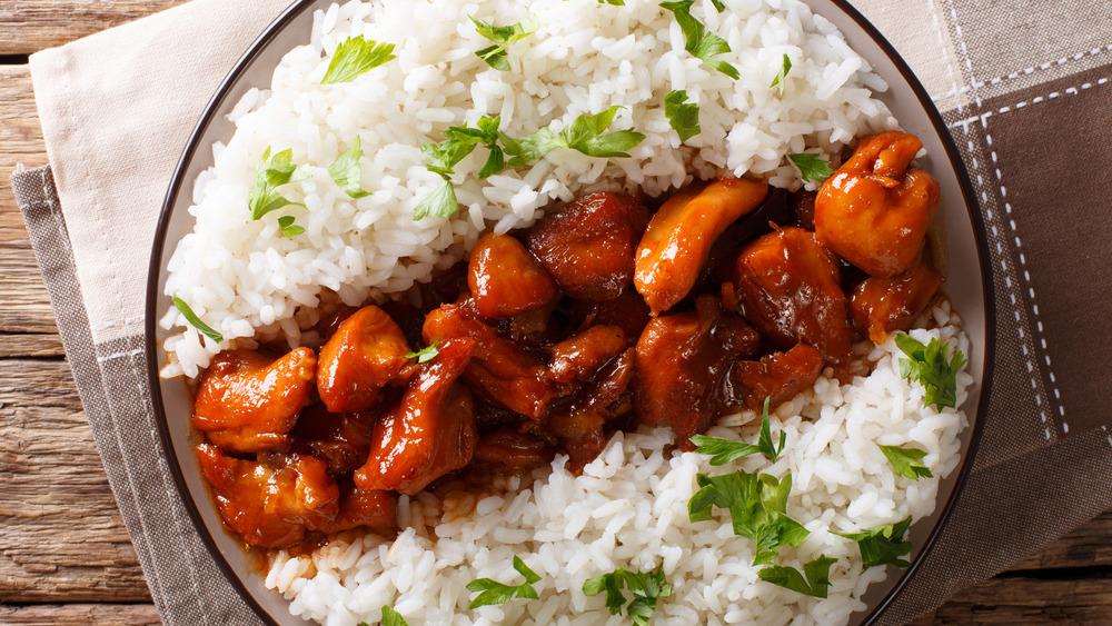 Bourbon chicken with rice