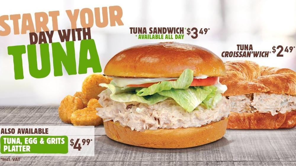 Burger King's tuna salad sandwich advertisement