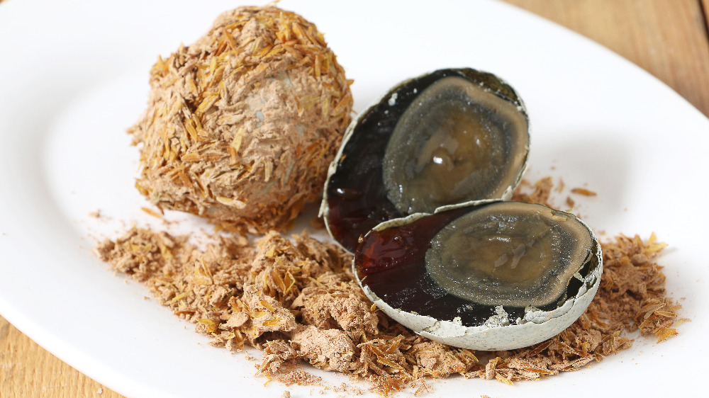 Century eggs on a Chinese-style plate
