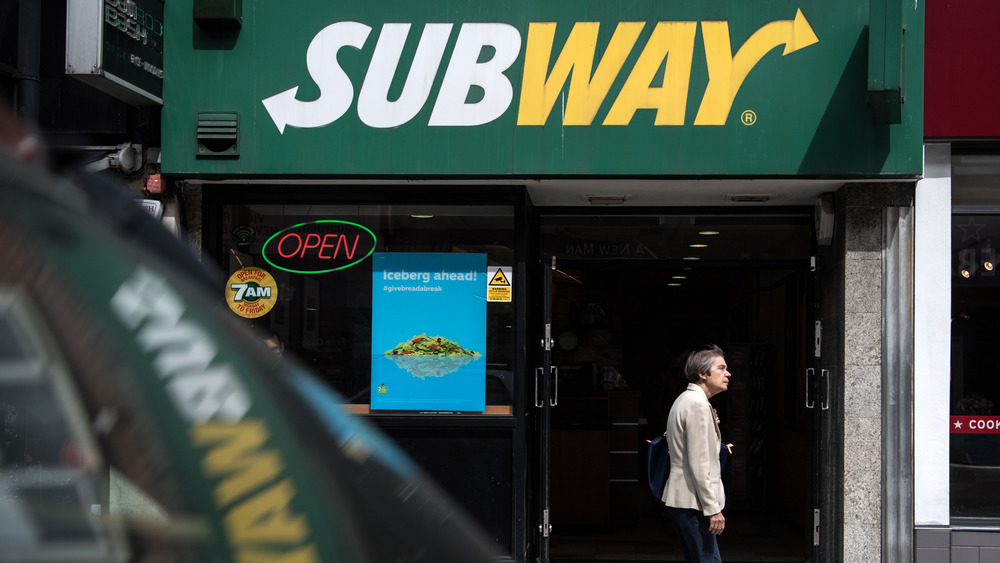 Subway store front with open sign