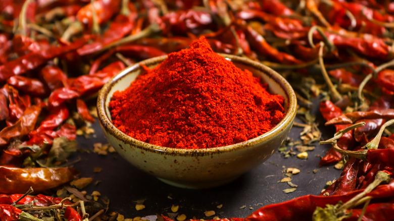 Chili powder with dried chilis