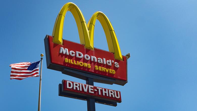 McDonald's sign with U.S. flag